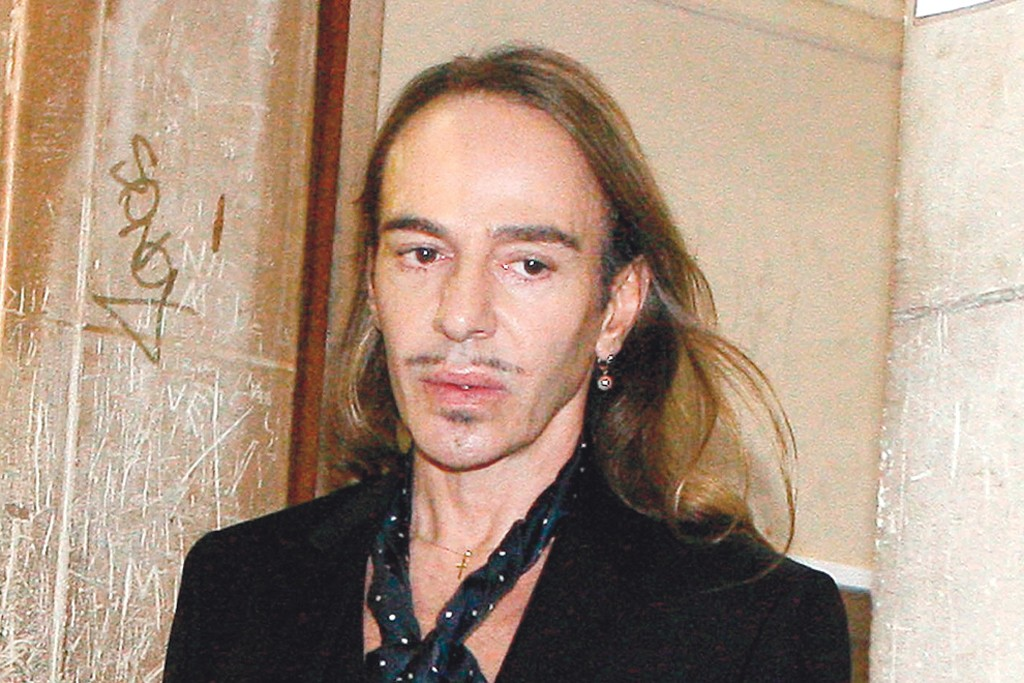 Designer John Galliano arriving to a court date in Paris