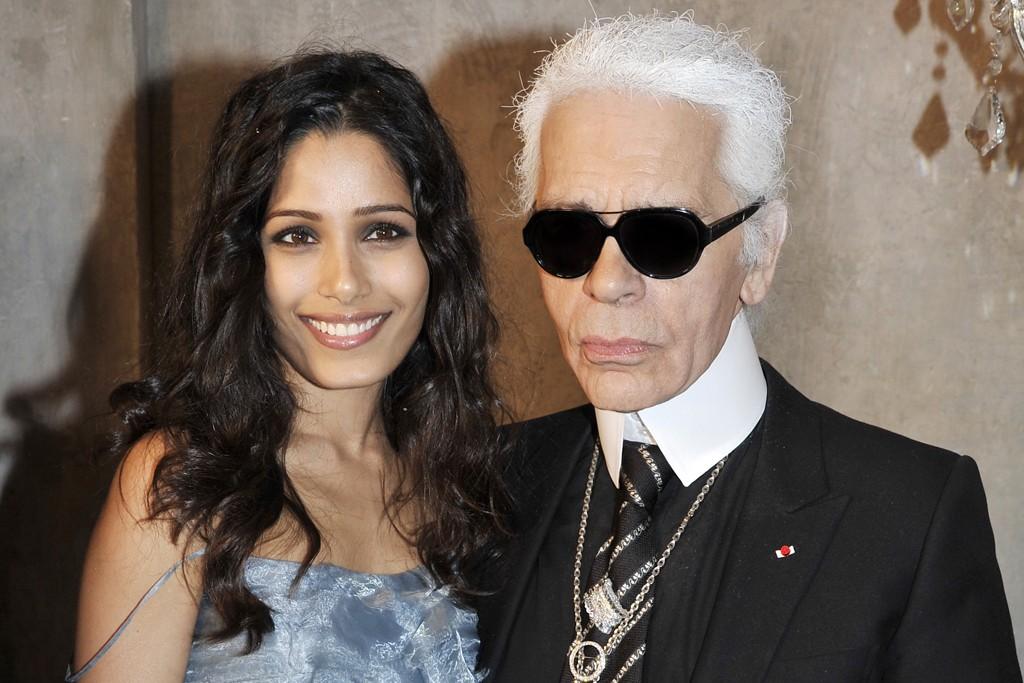 Freida Pinto and Karl Lagerfeld