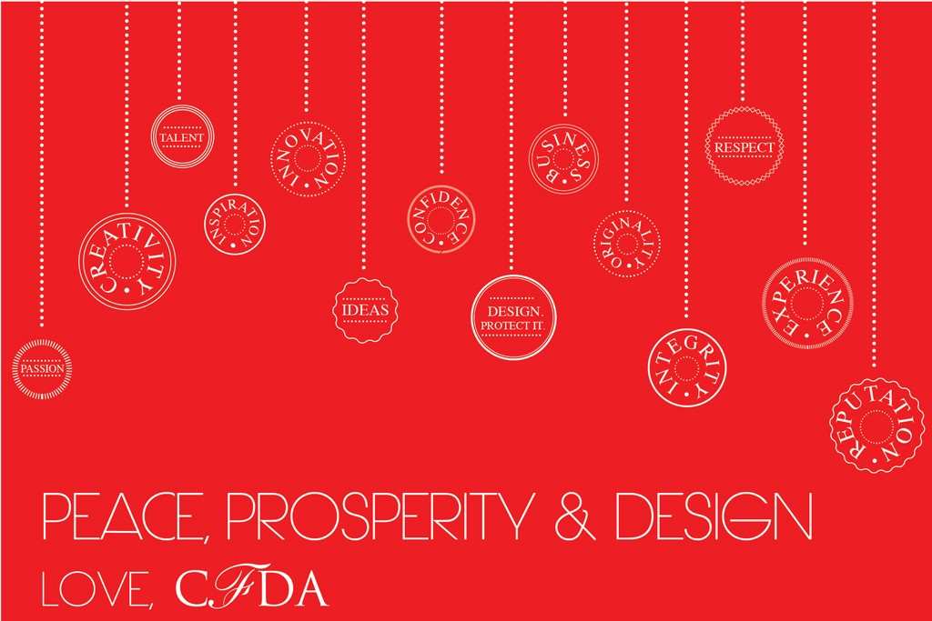 The CFDA's holiday card.