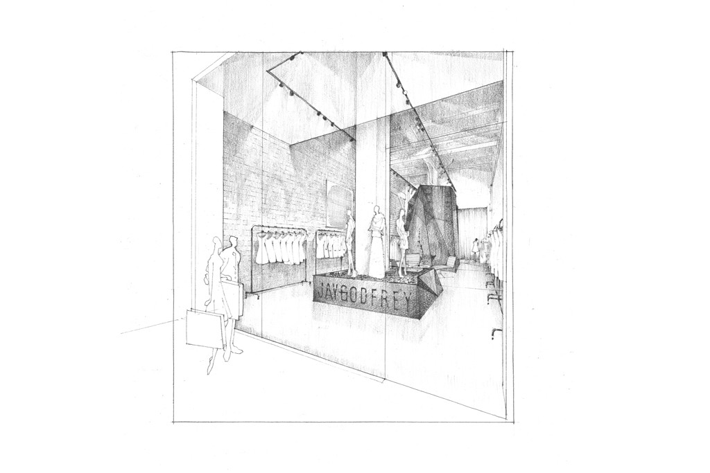 A rendering of Jay Godfrey's first store.