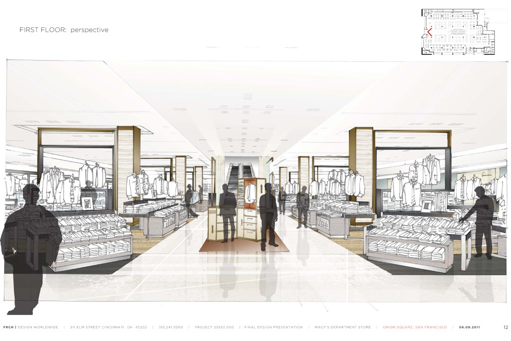 A rendering of the main floor at the Macy's Men's Store.