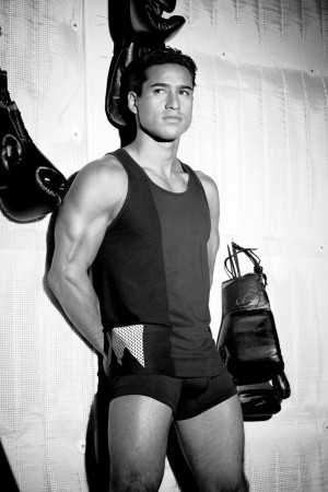 Mario Lopez models modeling his collection.