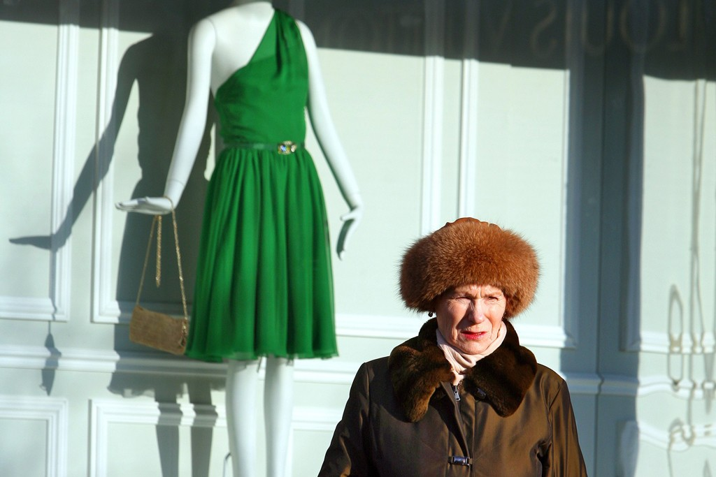 A shopper outside a Dior shop in Moscow.