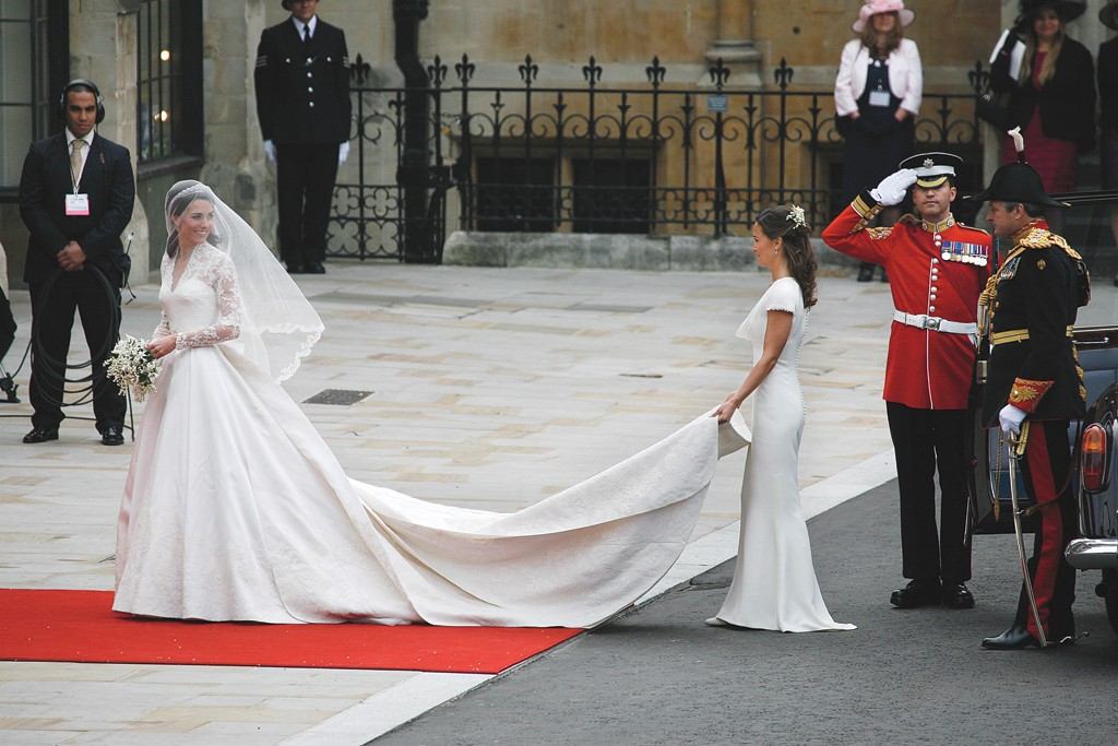 Kate Middleton in an Alexander McQueen gown designed by Sarah Burton with sister Pippa Middleton at her royal wedding to Prince William in London