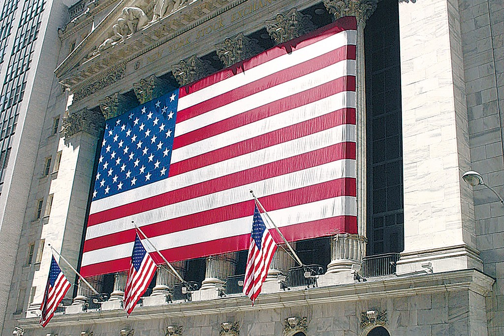 An exterior view of the New York Stock Exchange in Manhattan, New York,