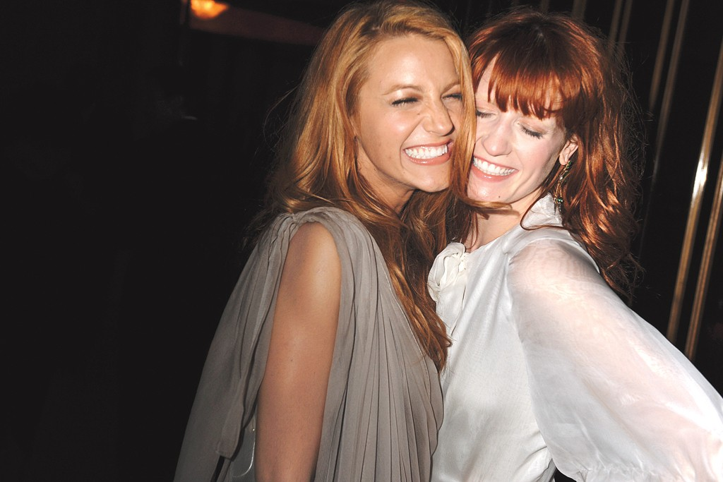 Blake Lively and Florence Welch at a party following the Costume Institute gala.