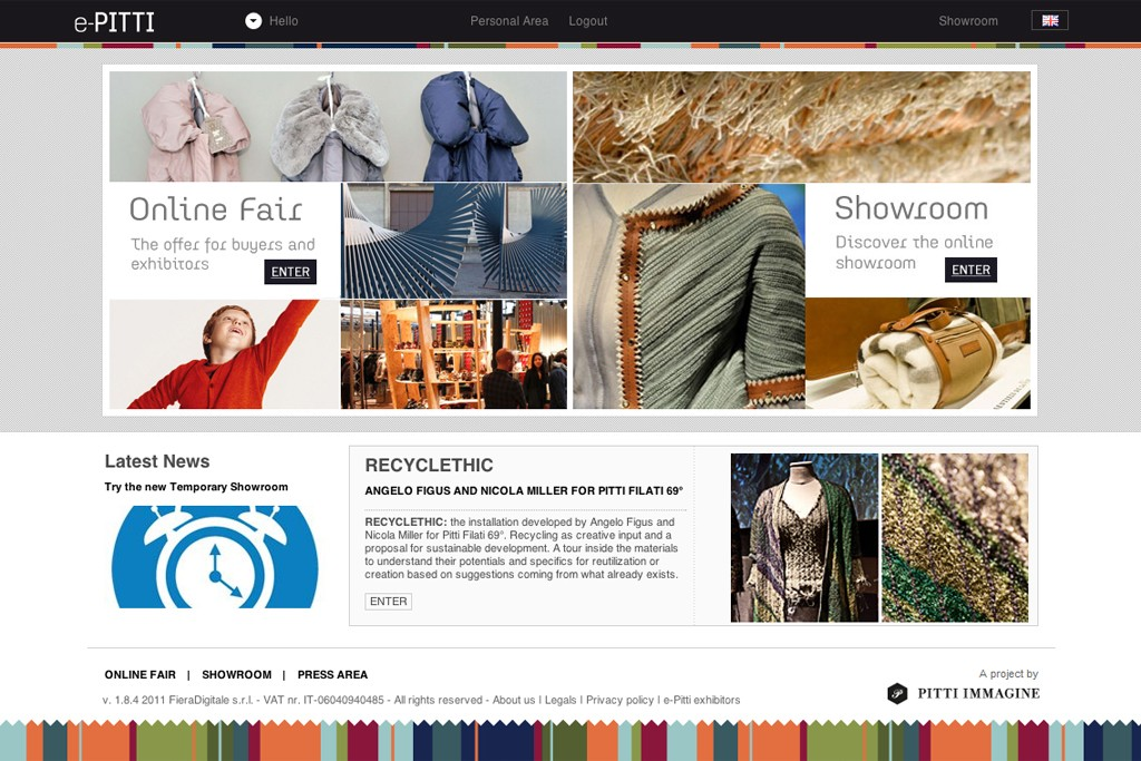 The e-Pitti Web site.