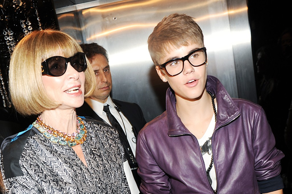 Anna Wintour with Justin Bieber on Fashion's Night Out.