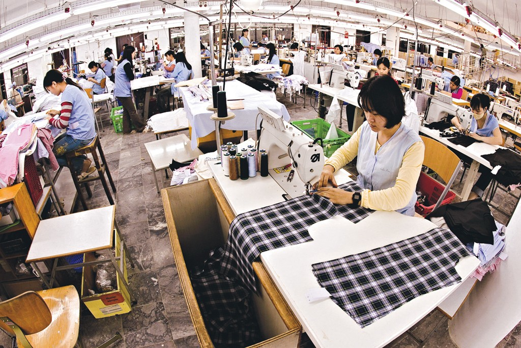 Workers at a clothing factory in Vietnam.