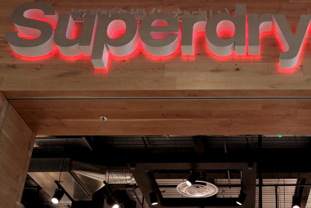 A look at the Superdry store sign.