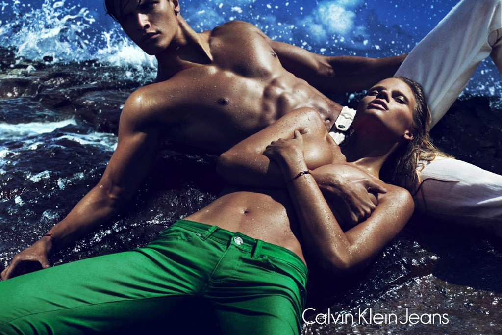 An ad from the Calvin Klein Jeans campaign, featuring Lara Stone, shot by Mert Alas and Marcus Piggott.