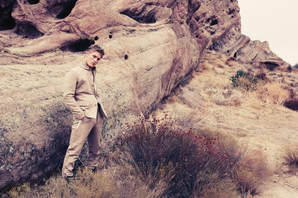 Bottega Veneta's cotton suit. Nicholas K boots.
