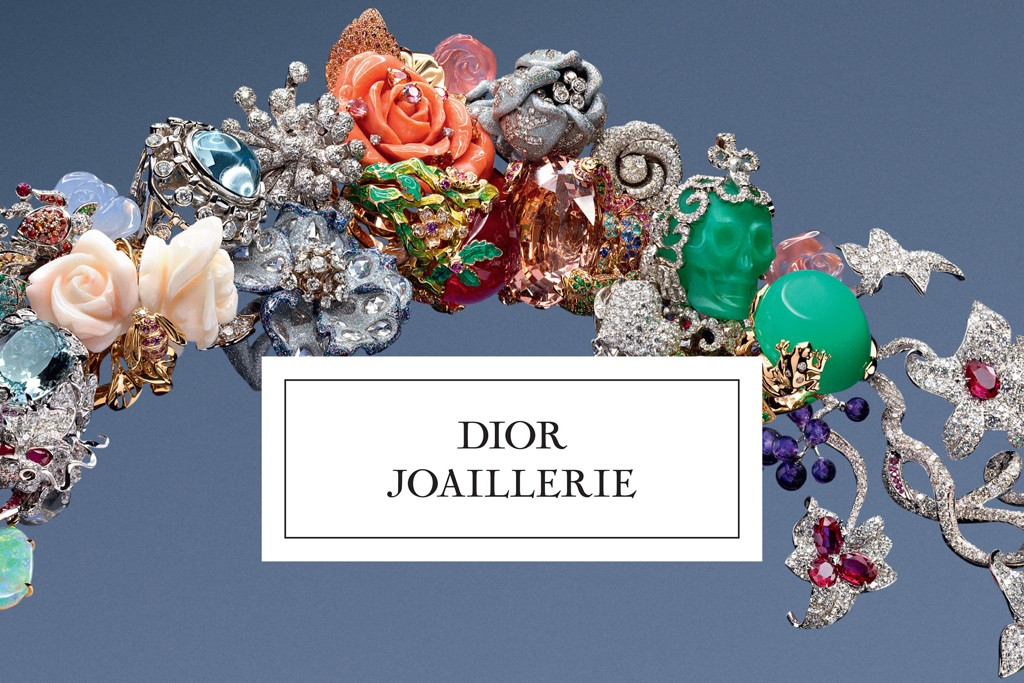 "The cover of Dior's first jewelry book, titled ""Dior Joaillerie."""