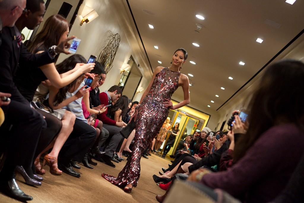 Luo Zilin in the Bergdorf Goodman fashion show.