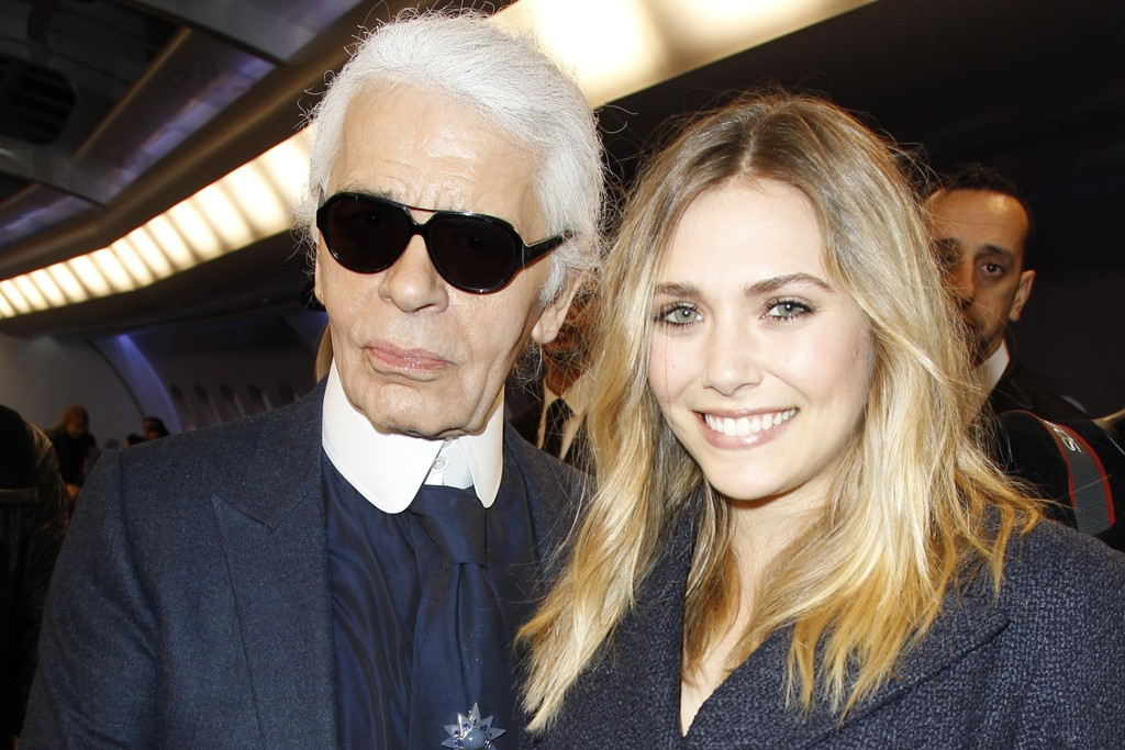 Karl Lagerfeld and Elizabeth Olsen