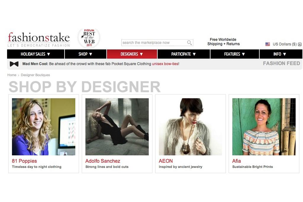A look at the FashionStake Website.