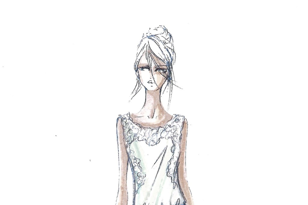 Alberta Ferretti for Macy's Impulse department: a jersey and lace top with eyelet lace pants.