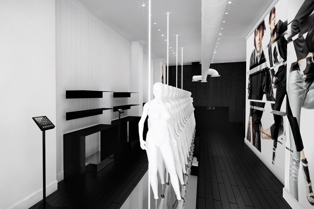 A rendering of the forthcoming Karl pop-up shop on Bleeker Street.