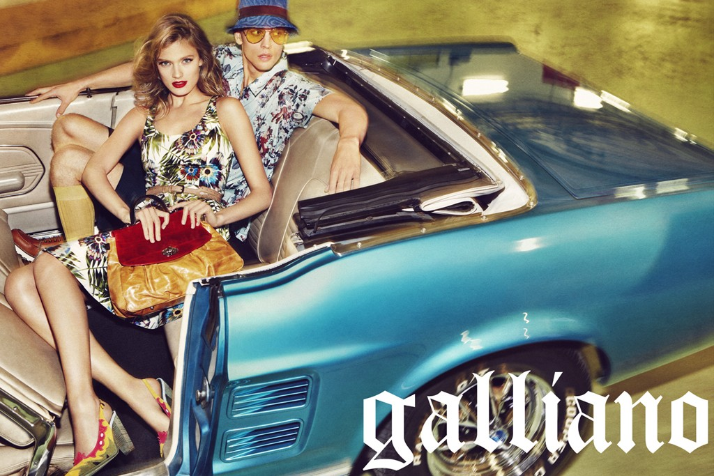 A road trip to Las Vegas is the theme of the John Galliano campaign.