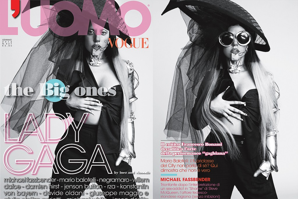 Lady Gaga on the cover of L'Uomo Vogue.
