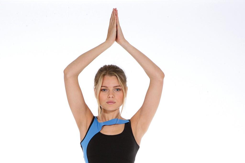Beyond Yoga's cotton and spandex top; Via Prive's nylon and spandex pants.