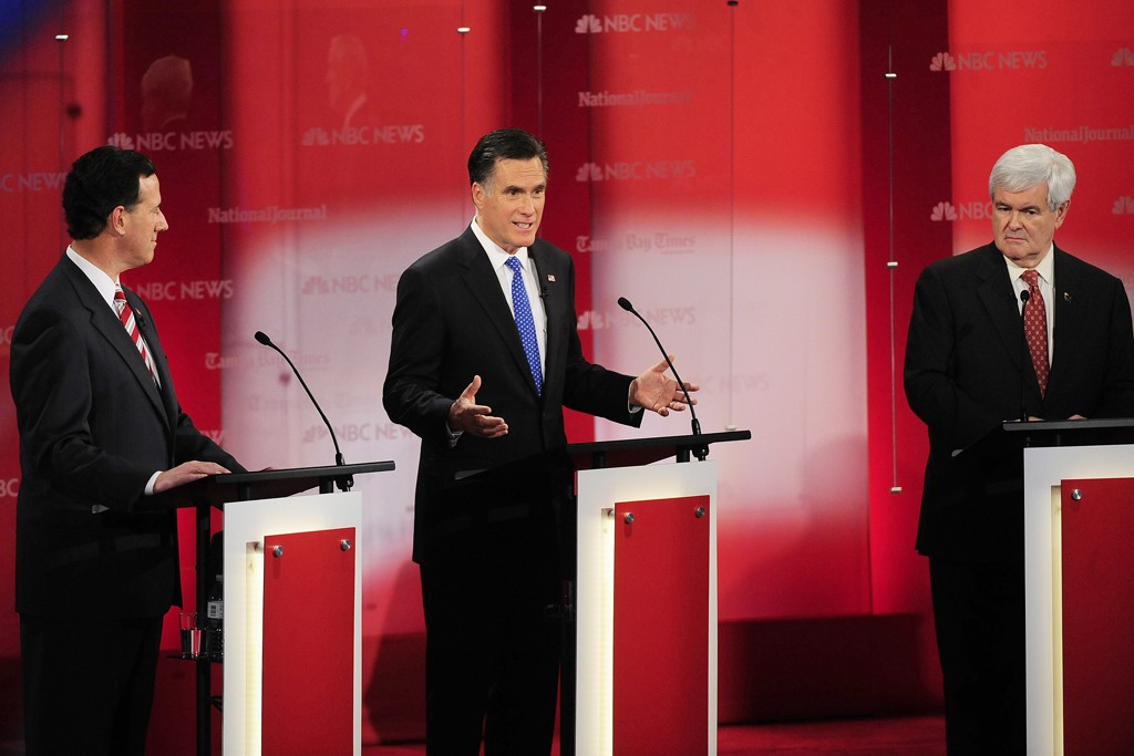 Rick Santorum, Mitt Romney and Newt Gingrich.