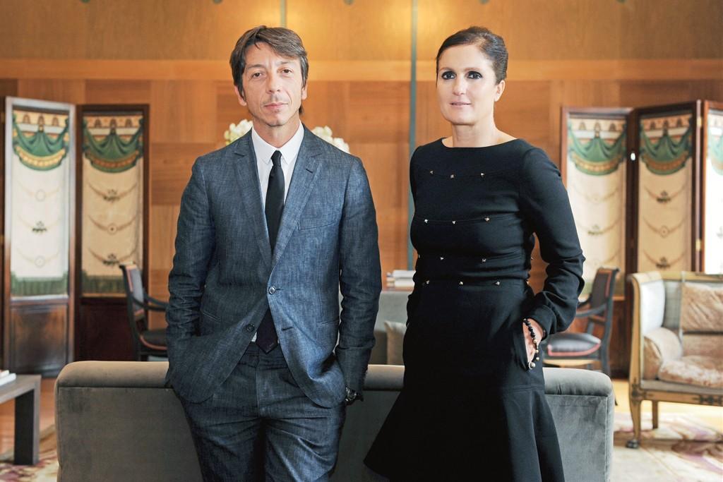 Pierpaolo Piccioli and Maria Grazia Chiuri in their Michael Bastian Valentino office.