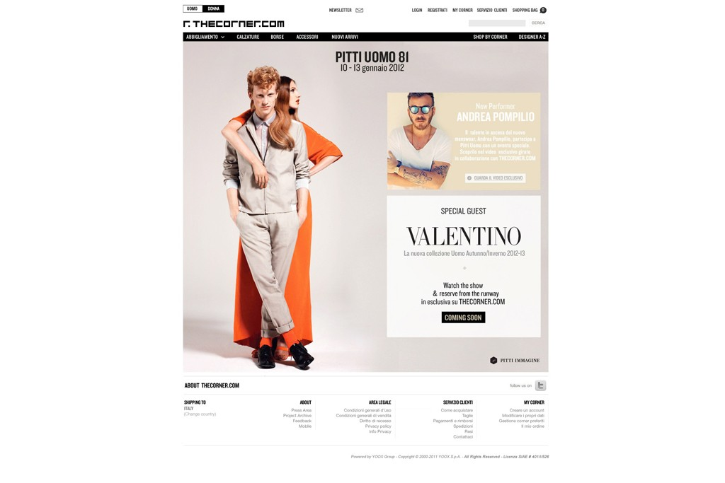 The Valentino page on Thecorner.com.