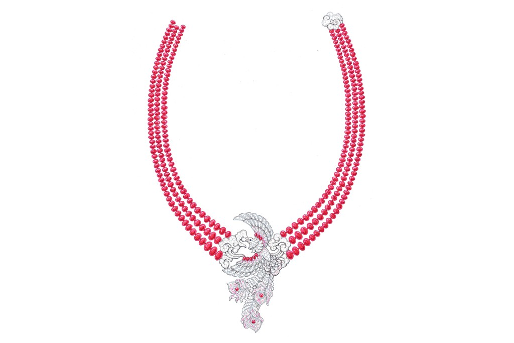 Van Cleef & Arpels' necklace with a central ornament depicting a phoenix in full flight, its decorative tail feathers set with dégradé pink diamonds, with dramatic strands of blood-red spinel beads.