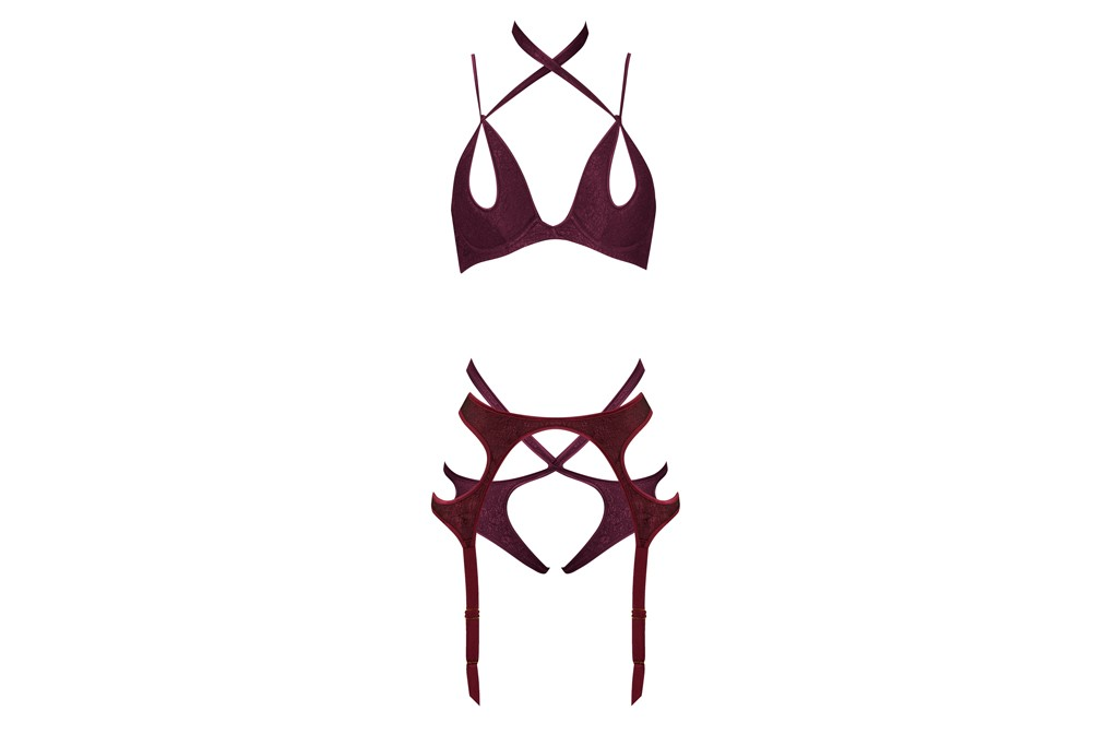 Agent Provocateur's silk and elastane bra, briefs and garters.