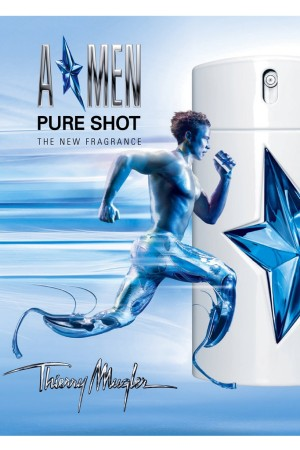 An ad for Thierry Mugler men's fragrance, Amen Pure Shot.