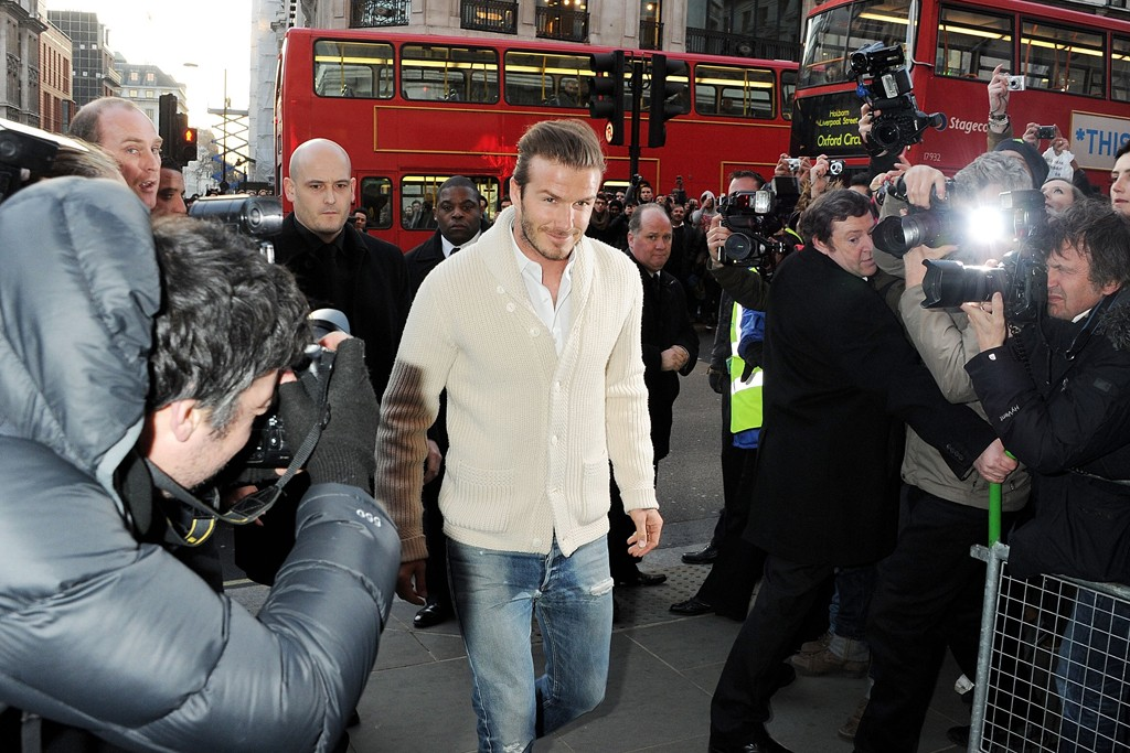 David Beckham arriving at the H&M Regent street store