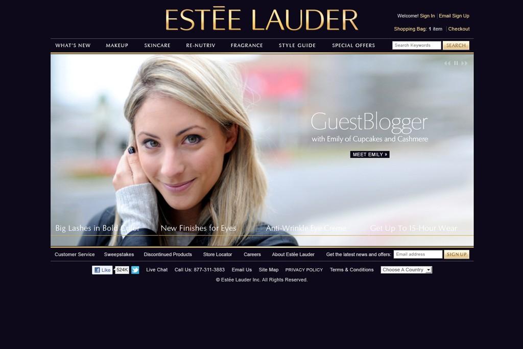 A view of Estée Lauder's website.