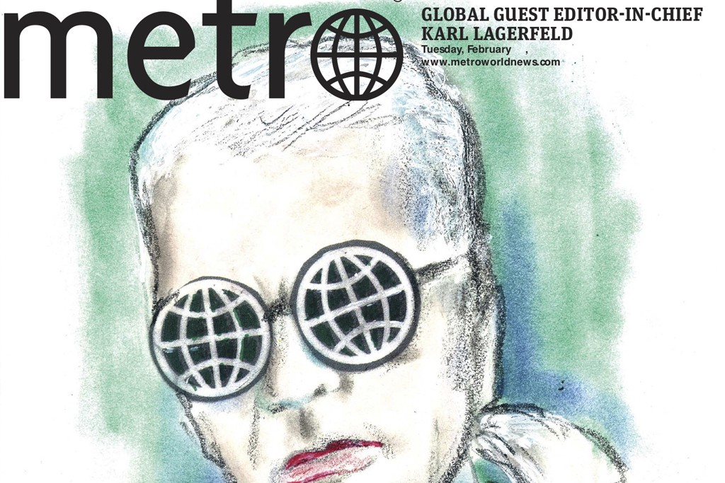 An image from Metro International with Karl Lagerfeld as the guest editor.