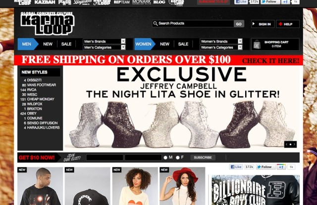 A view of KarmaLoop's Web site.