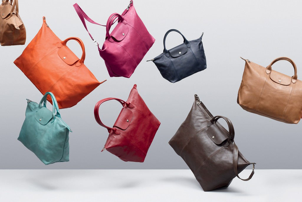 Leather versions of the Le Pliage bag.