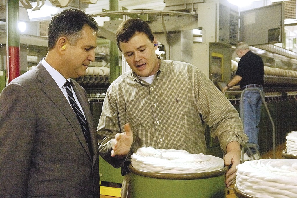 Francisco Sanchez and Parkdale Mills plant manager Keith Nicholson.
