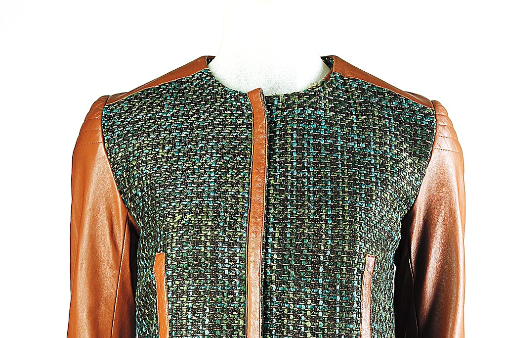 Rachel Roy's wool tweed and leather jacket and dress.