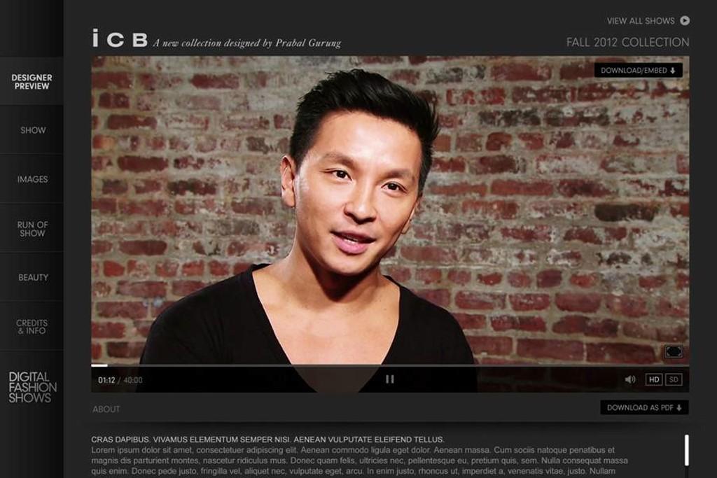 A screen grab of Prabal Gurung for ICB.