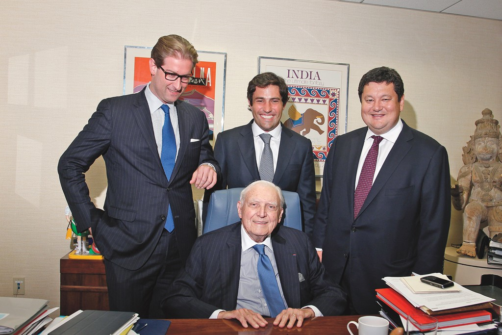 From left: Mortimer Singer; Atlas Advisors' managing director Julian Steinberg and senior managing director Palden Namgyal; Marvin Traub (seated).