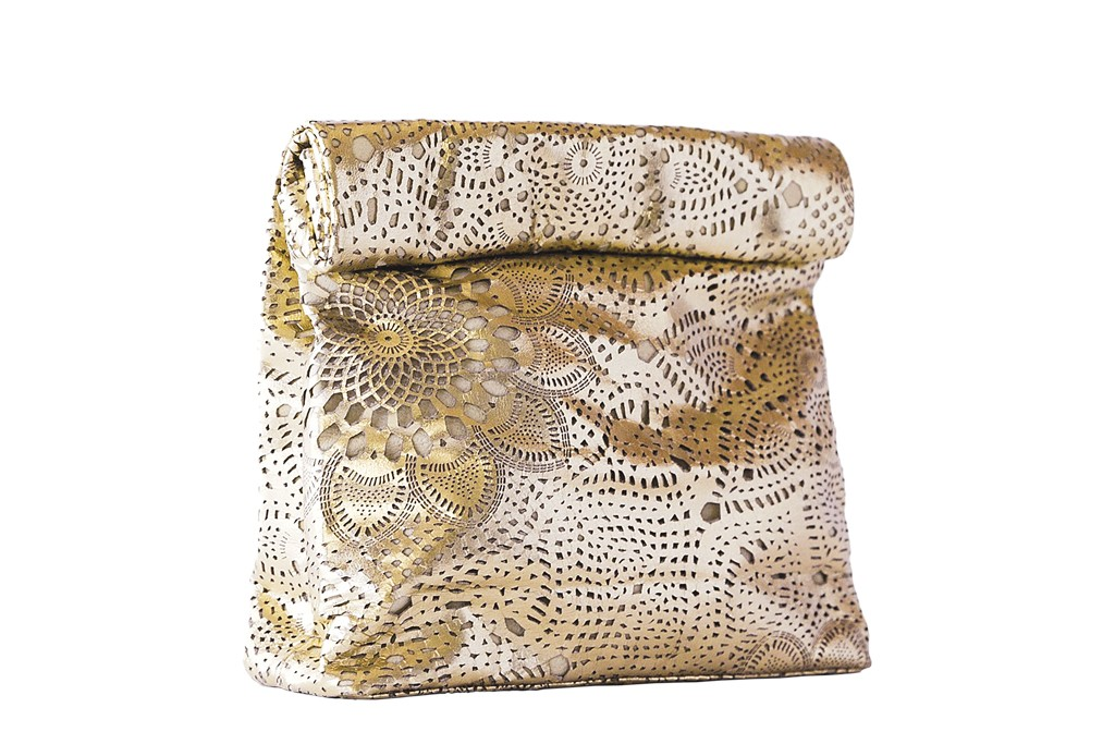 "Marie Turnor's ""Picnic"" bag in gold lace."
