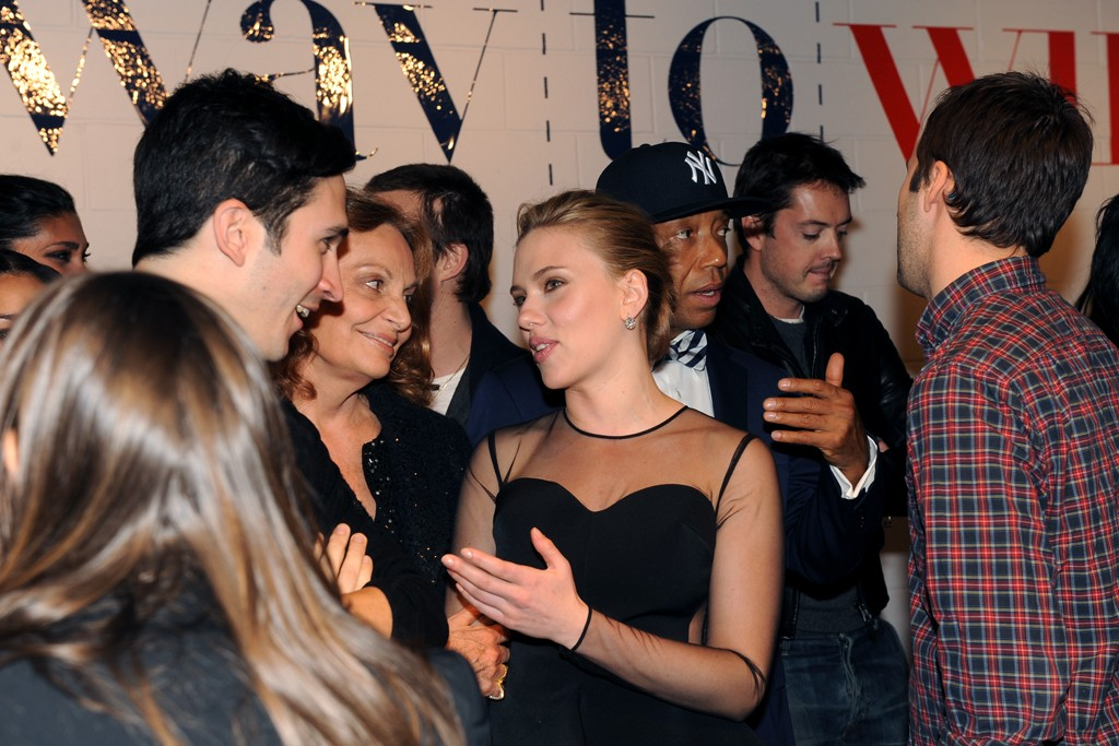 Lazaro Hernandez, Diane von Furstenberg and Scarlett Johansson.