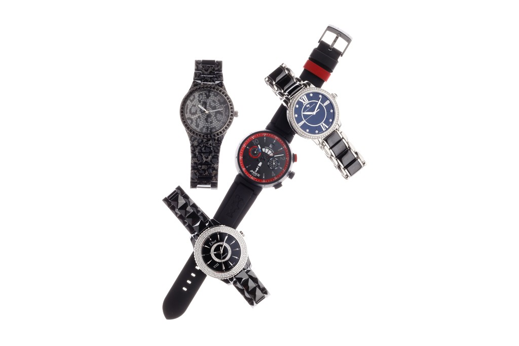 From top clockwise: Watches by Guess, David Yurman, Louis Vuitton, and Dior
