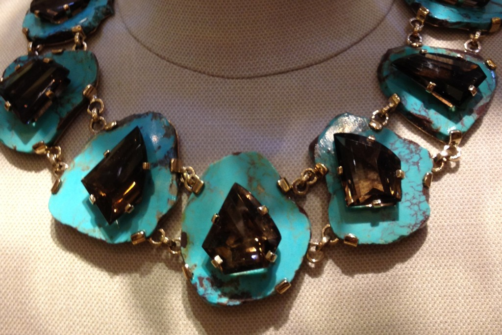 Turquoise and smoky topaz necklace.