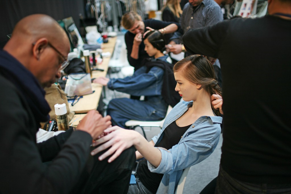 Backstage at Cacharel RTW Fall 2012