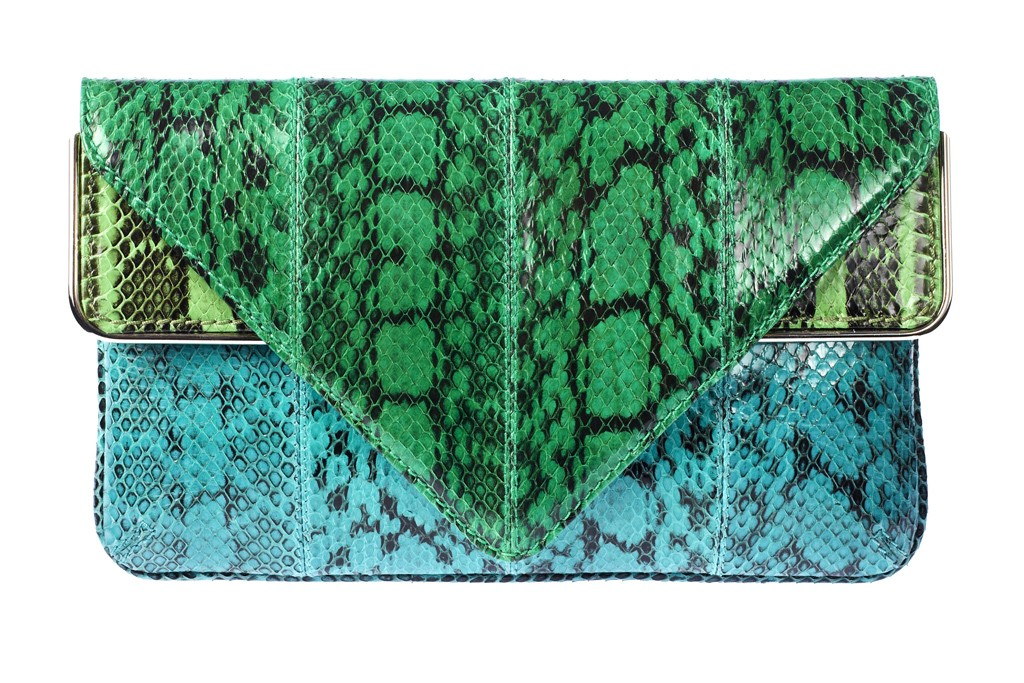 A snakeskin clutch by Brian Atwood.