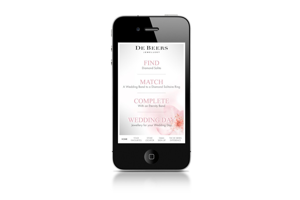 De Beers Diamond Jewellers will launch its first app devoted to bridal jewelry next month.