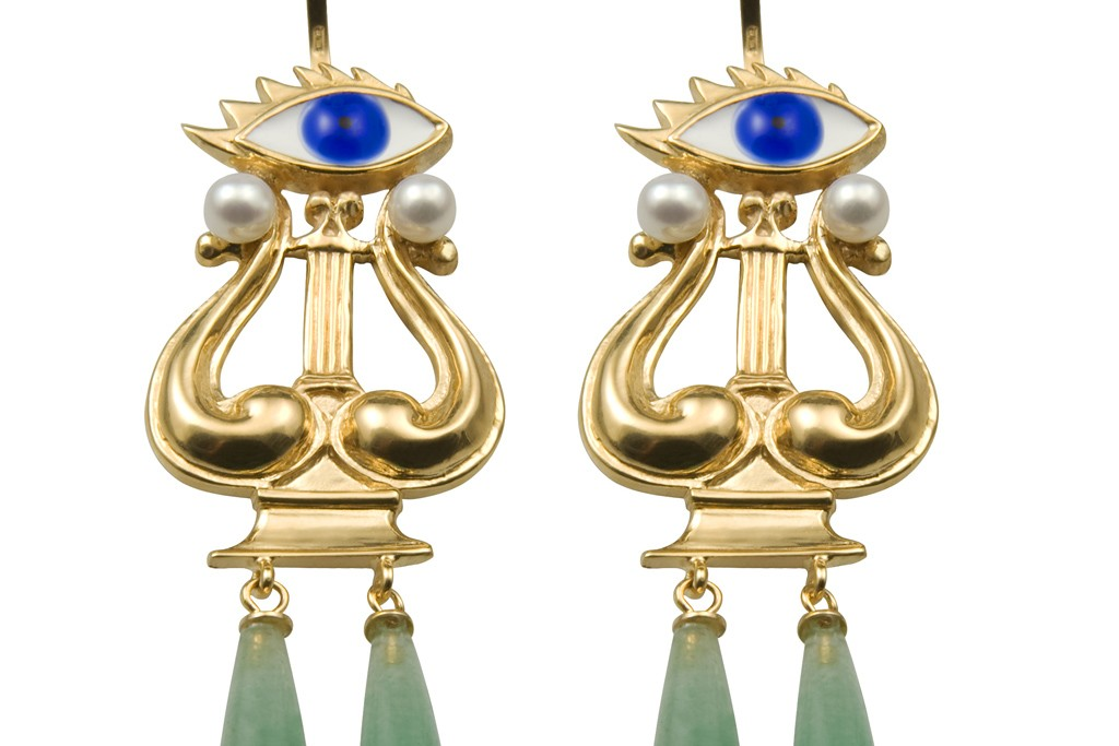 Delifina Delettrez's Eyes on Me earrings in gold-plated silver, aventurine drops, pearls and enamel.
