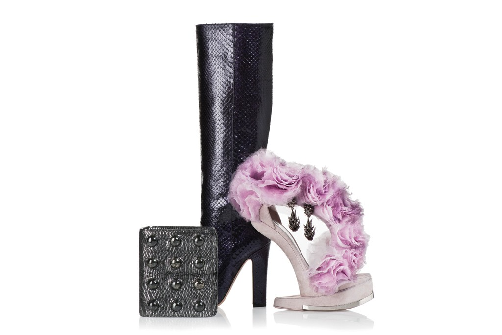 Alexander McQueen's organza and suede sandal. Balenciaga by Nicolas Ghesquière's pewter and enamel earrings. Jimmy Choo's python boot. Chanel's oxidized lizard and pyrite stone flap bag.