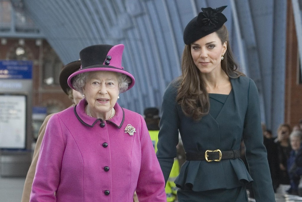 Queen Elizabeth II and The Duchess of Cambridge arrive at Kings Cross St Pancras Station.